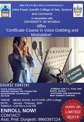 Certificate Course in Voice Dubbing and Modulation